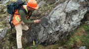 Andy West, an exploration geologist, at work on Trilogy Metals' copper property in Alaska's Ambler mining district. Credit: Trilogy Metals.