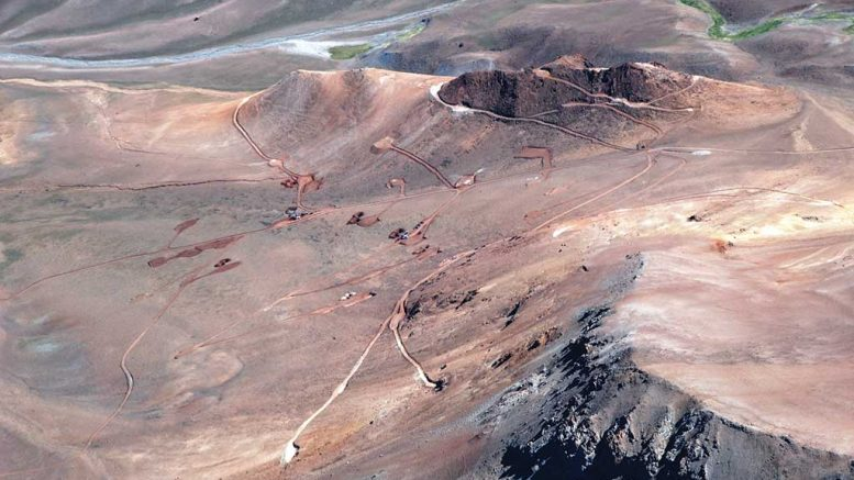 Looking north at the Caspiche gold-copper project in Chile, which Goldcorp is buying. Credit: Exeter Resource.
