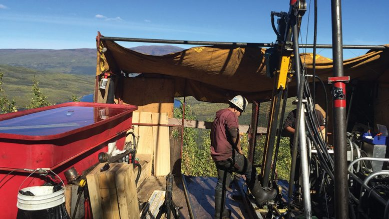 Drillers at Goldstrike Resources' (TSXV: GSR) Plateau gold project, 300 km east of Dawson City, Yukon. Credit: Goldstrike Resources.