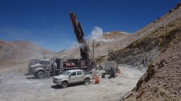 Drilling at the Filo del Sol project in Chile's Atacama region. Credit: Filo Mining.