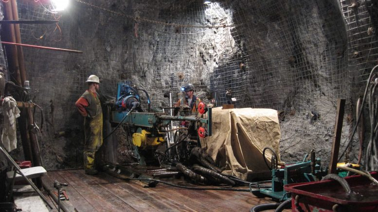 Drillers underground in the Martel zone at Imperial Metals' Mount Polley copper-gold mine in south-central British Columbia. Credit: Imperial Metals