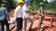 Emmanuel Macron (left), then French Minister of Economy and now presidentelect of France, and Robert Giustra, Columbus Gold CEO, at the Montagne d'Or project in 2015. Credit: Columbus Gold.
