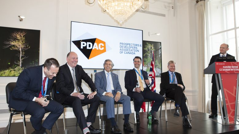 Sharing a laugh during a panel session at the Canadian Mining Symposium in London, in May 2017, from left: Stephen R. Mullowney, managing director & partner, Consulting & Deals, PwC; Patrick Anderson, president and CEO, Dalradian Resources; Rob McEwen, executive chairman, McEwen Mining; Ed Sterck, director, BMO Capital Markets; Ian Pearce, chairman, New Gold; and John Cumming, editor-in-chief, The Northern Miner. Photo by Martina Lang.