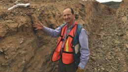Riverside Resources' president and CEO John-Mark Staude in a trench at Glor gold project in Sonora, Mexico. Credit: Riverside Resources.