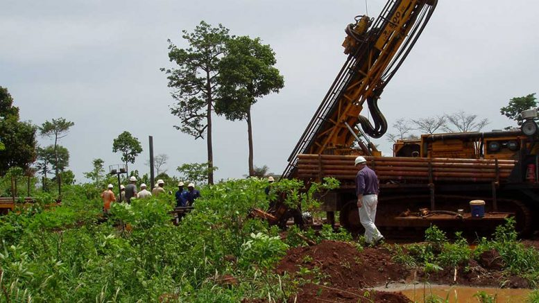 Drilling at Newmont Mining's Ahafo project in the Yamfo-Sefwi gold belt of southwestern Ghana. Credit: Newmont Mining.