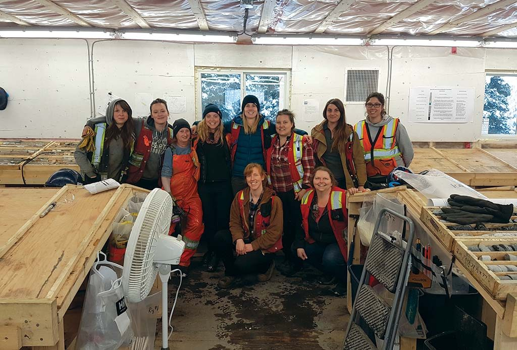 A group of women geologists, first-aid responders and drill core technicians at Barkerville Gold Mines' Cariboo gold project in south-central B.C. gather to celebrate International Women's Day on March 8. Photo by Andrew Ganton.