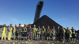 Miners pose to mark the occasion of first coal in February 2017 at Kameron Collieries' Donkin coal mine in Nova Scotia. Credit: Kameron Collieries.