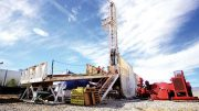 Drillers on a platform at Pure Energy Minerals' Clayton Valley lithium project in Nevada. Credit: Pure Energy Minerals.