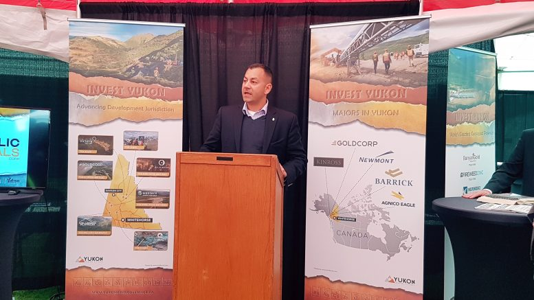 Yukon Deputy Premier Ranj Pillai, also Minister of Energy, Mines and Resources, addresses the crowd at the annual Yukon Mining Investment Conference in Dawson City. Photo by Matthew Keevil.