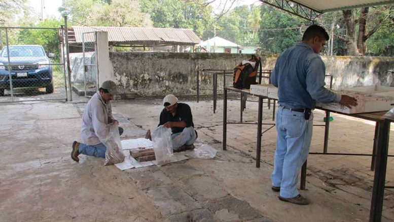 Workers prepare samples at Candelaria Mining's Caballo Blanco gold-silver project in Mexico. Credit: Candelaria Mining.