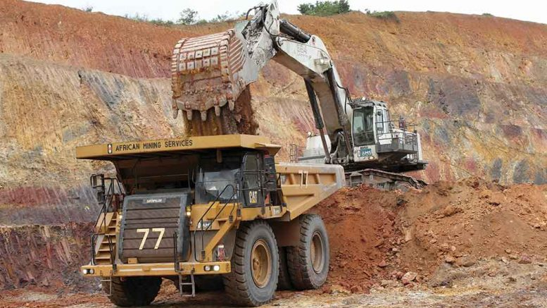 Mining saprolite ore in the Salman pit at Endeavour Mining's Nzema gold mine in Ghana. Credit: Endeavour Mining.