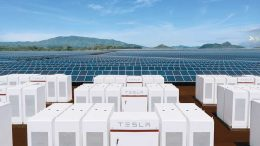A rendering of some of the 272 Tesla Powerpacks integrated with a 13MW solar installation at the Kauai power project in Hawaii. Credit: Tesla.