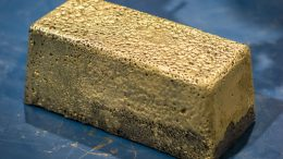 The first gold doré bar produced at Pretium Resources' Brucejack mine. Credit: Pretium Resources.