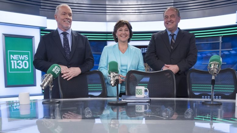 From left: B.C. NDP Leader John Horgan, Liberal Leader and Premier Christy Clark and B.C. Green Party leader Andrew Weaver pose for a photo following the leaders debate in Vancouver on April 20. Credit: CP.