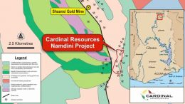 A map showing Cardinal Resources' Namdini gold project, located in the Bolgatanga region, 6 km south east of the operating Shaanxi gold mine, in Ghana. Credit: Cardinal Resources.