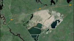 Digital aerial view of Avalon Advanced Materials' past-producing East Kemptville tin-zinc-copper mine east of Yarmouth, Nova Scotia. Credit: Google Earth.