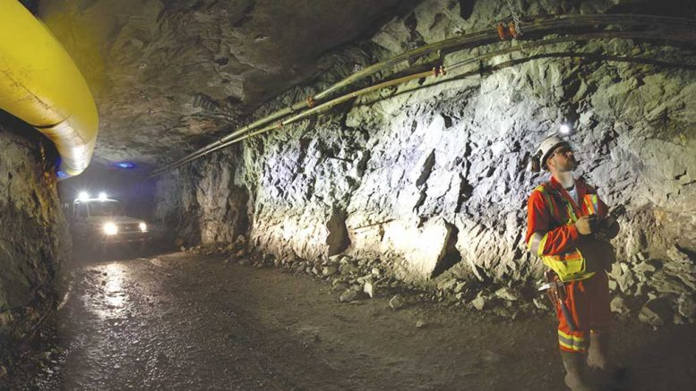 Geologist Robert Scott maps geology underground at Pure Gold Mining's Madsen gold project in Ontario's Red Lake mining camp. Credit: Pure Gold Mining.