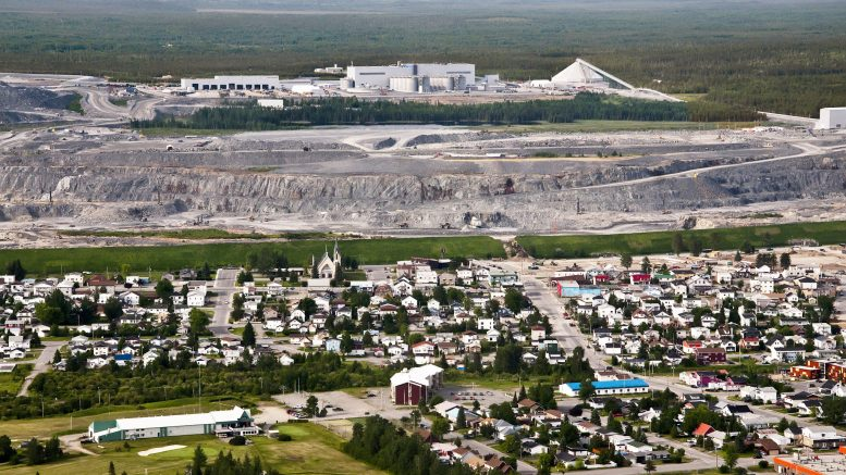Aerial view of the town of Malartic, Que., the main pit of Agnico Eagle Mines and Yamana Gold's Canadian Malartic gold mine, and the mill complex. Credit: Agnico Eagle Mines.