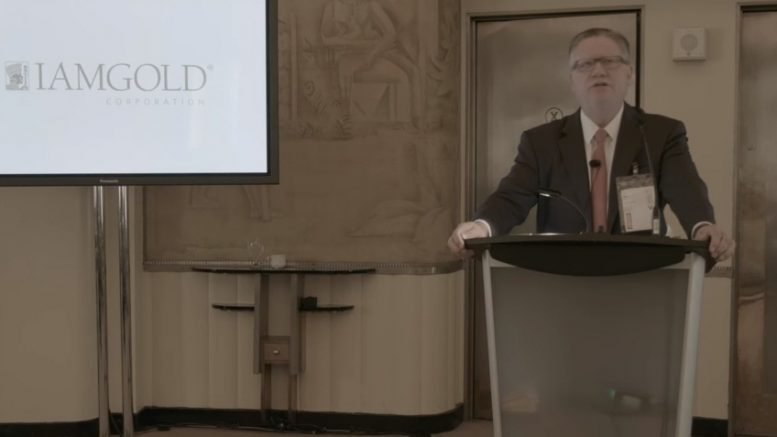 Iamgold president and CEO Stephen Letwin speaking at the Northern Miner's Progressive Mine Forum in Toronto in October 2017. Credit: The Northern Miner livecast screenshot.