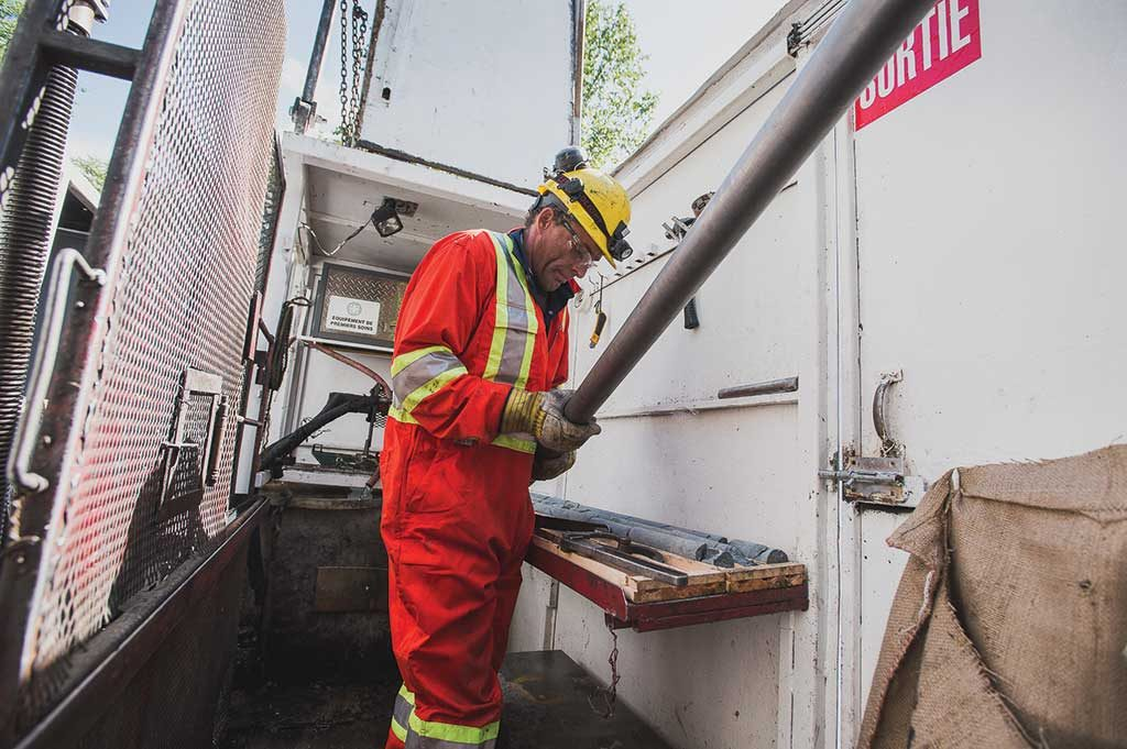 A driller at Falco Resources' Horne 5 gold property in Quebec. Credit: Falco Resources.