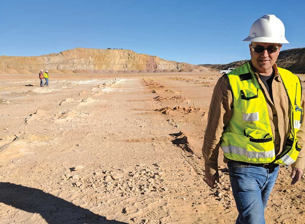 Eric LeLacheur, Fiore Gold's vice-president of U.S. exploration, at the Pan gold mine's South Pit. Credit: Fiore Gold.