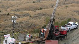 Drillers at work in Montana at Broadway Gold Mining's Madison gold-copper project in September 2017. Credit: Broadway Gold Mining.