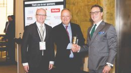 Matt Manson (centre), Stornoway Diamond president and CEO, accepts The Northern Miner's Mining Person of the Year Award for 2016 from editor-in-chief John Cumming (left) and publisher Anthony Vaccaro in October 2017 during the Progressive Mine Forum in Toronto. Credit: George Matthew Photography.