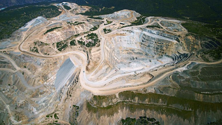 Aerial shot of the Copper Mountain mine, looking north, with Pit 3 in the foreground. Credit: Copper Mountain Mining.