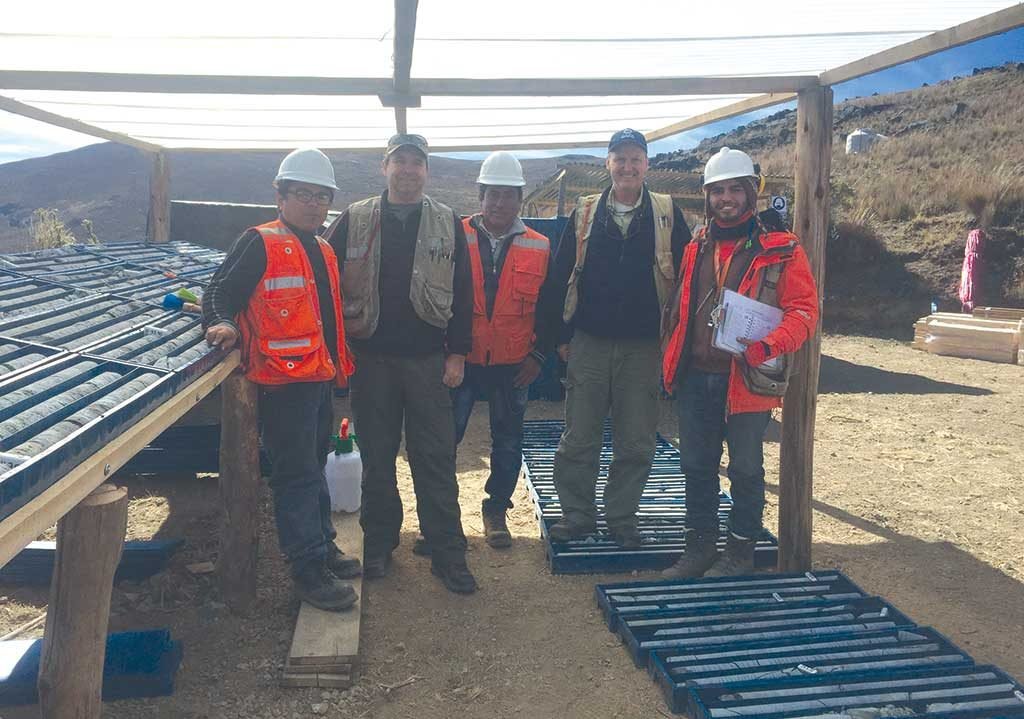 Chakana Copper's project team at the Soledad copper-gold-silver project in the western ranges of the Andes in Peru, from left: Carlos Montoya, project manager; Steve Park, chief consulting geologist; Favio Medrano, field assistant; David Kelley, CEO; and Victor Torres, project geologist. Credit: Chakana Copper.