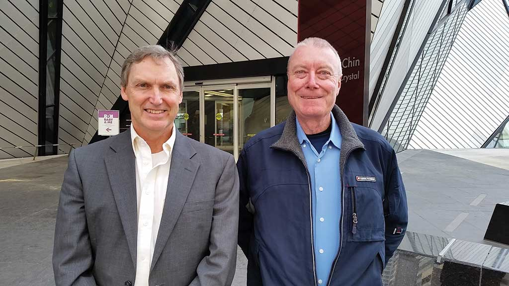 Chakana Copper CEO David Kelley (left) and chairman Douglas Kirwin outside the Royal Ontario Museum in Toronto, where some of Kirwin's mineral and ore collection is on display. Photo by Trish Saywell.