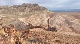 Drilling on Columbus Gold's Eastside gold property in Nevada, 32 km west of Tonopah. Credit: Allegiant Gold.