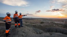 Miners overlooking the plant at the Jwaneng mine in Botswana. Credit: Debswana