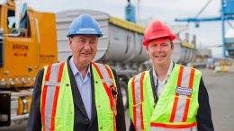 Copper Mountain Mining CEO Jim O'Rourke (L) and CFO Rod Shier (R) during concentrate shipping at the Vancouver Wharf. Credit: Copper Mountain Mining.