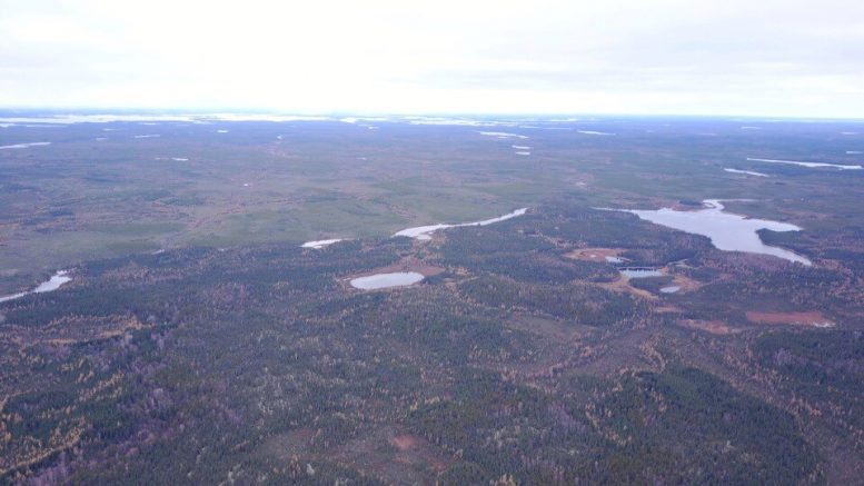 An aerial photo of the MacBride property. Credit: Rockcliff Metals.