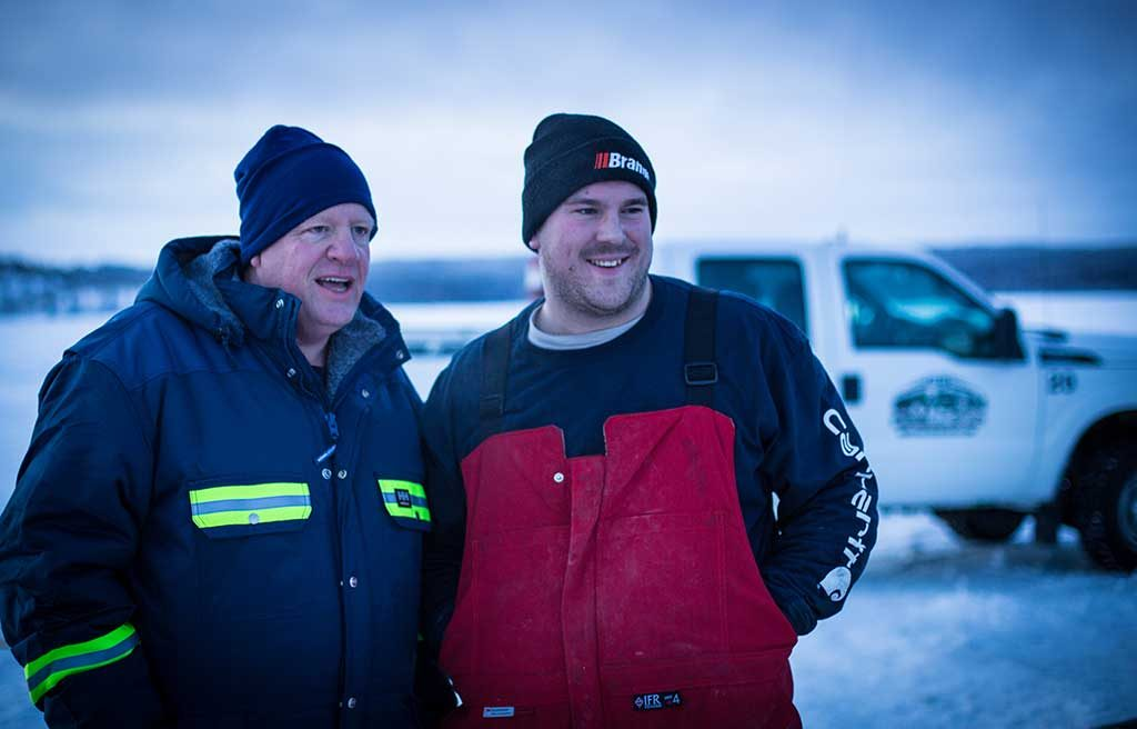 Ross McElroy (left) with a colleague (unknown) at Fission Uranium's Patterson Lake South project in Saskatchewan. Credit: Fission Uranium.
