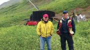 Aben Resources' president and CEO Jim Pettit (left) with vice-president of exploration Cornell McDowell at the Boundary Zone on the Forrest Kerr gold property in northwestern British Columbia. Credit: Aben Resources.
