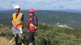Victoria Gold vice-president of exploration Paul Gray and geologist Helena Kuikka in July 2017 at the Eagle gold project, 49 km northeast of Mayo, Yukon. Photo by Lesley Stokes.
