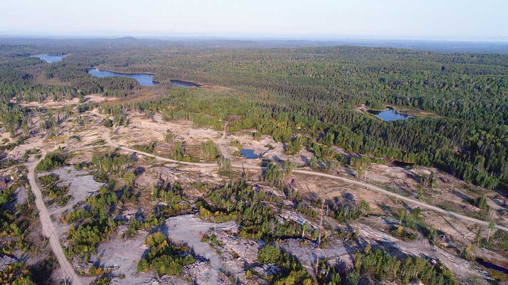 An aerial view of Argonaut Gold's Magino gold propery in Ontario, located 40 km northeast of Wawa. Credit: Argonaut Gold.