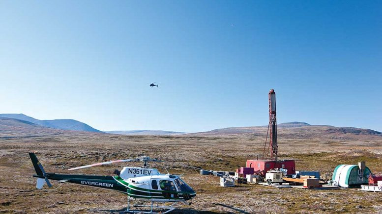A helicopter at a drill site in an undated photo of Northern Dynasty Minerals' Pebble copper-gold project in Alaska. Credit: Northern Dynasty Minerals.