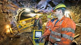 Workers underground at Strongbow Exploration's South Crofty tin-copper project in southwest England. Credit: Strongbow Exploration.