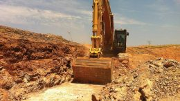 An excavator moves earth at Novo Resources' Beaton's Creek gold property in Western Australia. Credit: Novo Resources.