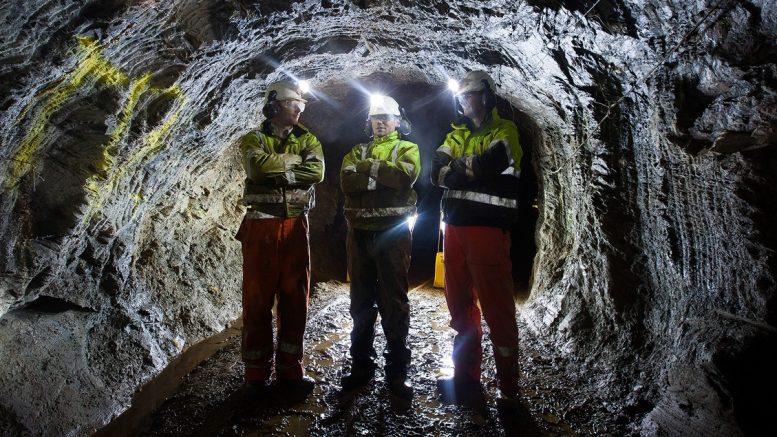 Standing underground at Dalradian Resources' Curraghinalt gold project in Northern Ireland. Credit: Dalradian Resources.