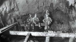 Miners in the historic O'Brien mine in the 1950s, where Radisson Mining Resources is exploring for gold. Credit: Radisson Mining Resources.