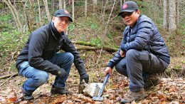 Japan Gold chairman and CEO John Proust (left) and senior exploration geologist Glenn Christian Alburo in the field in Japan. Credit: Japan Gold.