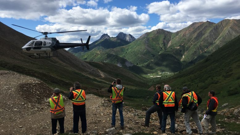 Newsletter writers and analysts wait for the helicopter at Atac Resources' Rackla gold property in the Yukon. Photo by Lesley Stokes.