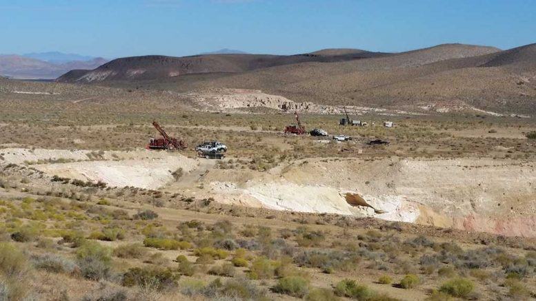 Drill rigs and vehicles at Corvus Gold's Mother Lode gold project, 150 km northwest of Las Vegas, Nevada. Credit: Corvus Gold.