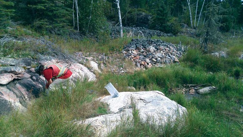Prospector Robert Freeman sampling in 2016 at New Age Metals' Lithium One lithium property in Manitoba. The sample bag sits on an outcrop of the Spodumene-Lepidiolite Zone. Photo by Carey Galeschuk.