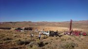A drill site at Northern Empire's Sterling gold project in Nevada. The drill in the background sits on Corvus Gold's Mother Load property. Photo by Richard Quarisa.