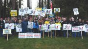 Striking mine workers at Hecla Mining's Lucky Friday silver mine in Idaho. Credit: USW Local 5114.