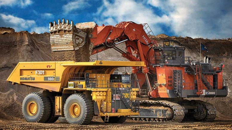 A haul truck at the Fort Hills oilsands project, 90 km north of Fort McMurray, Alberta. The project, which produced first oil in January, is owned by Suncor Energy (53.06%), Total E&P Canada (26.05%) and Teck Resources (20.89%). Credit: Suncor Energy.